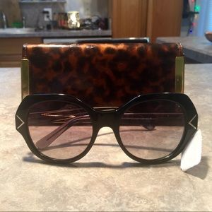 Tory Burch Oversized Black Sunglasses with Case